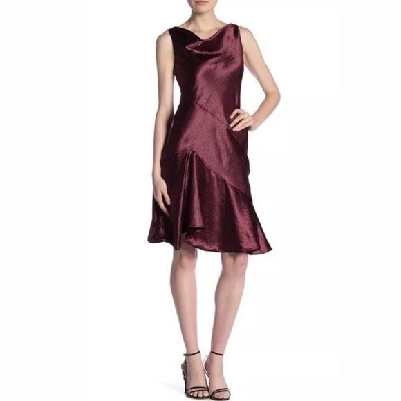 Taylor Satin Cowl Neck Dress Burgundy Size 4 & 12